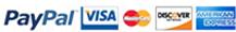 Visa - MasterCard - American Express - Discover - PayPal